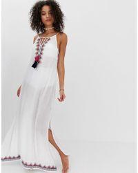 Robe Blanc Longues À Mandalay Franges De Plage nOX0P8wNk