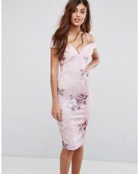 Be Jealous - Printed Bardot Pencil Dress - Lyst