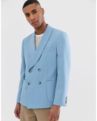 ASOS Boxy Oversized Double Breasted Slim Blazer In Blue