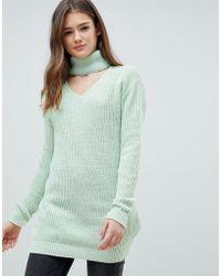 Glamorous Choker Neck Jumper - Green