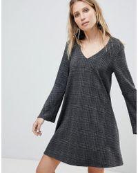 Mango - V Neck Check Dress - Lyst