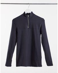ASOS T-shirt attillata a maniche lunghe grigia con collo alto con zip - Grigio