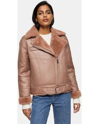 TOPSHOP Faux Leather Aviator Jacket - Pink