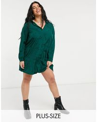Simply Be Shirt Dress With Button Front Detail - Green