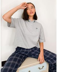 Fred Perry Oversized Pique Shirt - Grey