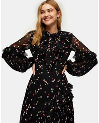TOPSHOP Idol Spot Ruffle Maxi Dress - Blue