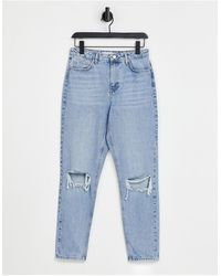 TOPSHOP - Mom Jean With Rips - Lyst