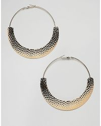 ASOS - Design Hoop Earrings With Hammered Detail In Gold - Lyst