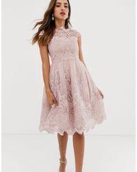 Chi Chi London Бежевое Кружевное Платье Миди Премиум-качества Для Выпускного С Вырезом Лодочкой -розовый - Многоцветный