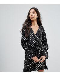 Oh My Love Polka Dot Wrap Frill Long Sleeve Dress - Black