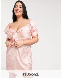 Skylar Rose Plus Mini Tea Dress With Tie Front - Pink