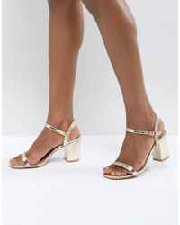 095e93c34a4e Glamorous Nude Patent Two Part Heeled Sandals in Natural - Lyst