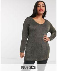 Simply Be V Neck Metallic Sweater - Black
