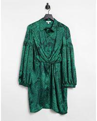 TOPSHOP - Платье-рубашка Зеленого Цвета С Принтом Пейсли И Запахом -зеленый Цвет - Lyst