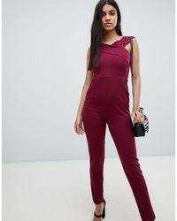 AX Paris Приталенный Комбинезон -фиолетовый - Красный