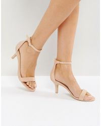 Glamorous - Nude Barely There Kitten Heeled Sandals - Lyst