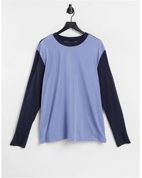 ASOS Long Sleeve T-shirt With Taping And Contrast Sleeve - Blue