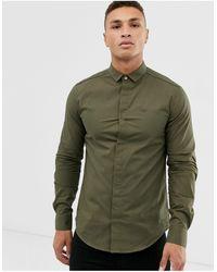 Emporio Armani - Облегающая Рубашка Хаки С Длинными Рукавами И Окантовкой -зеленый - Lyst