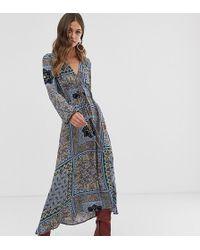 Stradivarius V Neck Midi Dress In Multi - Blue