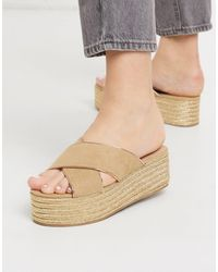 Call It Spring Jerirewiel Espadrille Flatform Mules - Natural