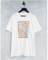 Honour HNR LDN - T-shirt avec imprimé fenêtre sur le devant - Blanc