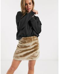 ASOS Faux Fur Mini Skirt - Brown