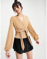 Closet Бежевая Блузка-кимоно С Завязкой Спереди -коричневый Цвет