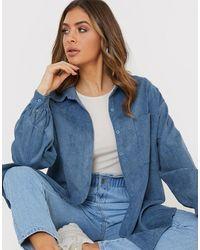 In The Style X billie faiers - chemise oversize en velours côtelé - Bleu