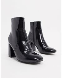 Glamorous Patent Heeled Boots - Black
