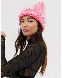 ASOS – Grobstrickmütze - Pink