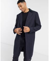 French Connection Single Breasted Over Coat With Velvet Collar - Blue