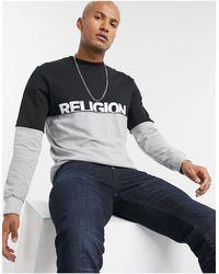 Religion Cut And Sew Back Print Sweatshirt - Black