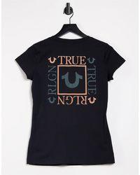 True Religion Box Back V Neck T Shirt - Black