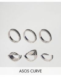 ASOS - Exclusive Pack Of 6 Engraved Ring Pack - Lyst