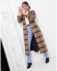 Y.A.S Manteau long ajusté à carreaux avec ceinture à carreaux - Camel - Multicolore