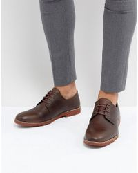 Red Tape - Derby Shoes In Milled Brown Leather - Lyst