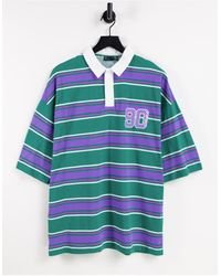 ASOS - Oversized Short Sleeve Stripe Polo T-shirt With Text Print - Lyst