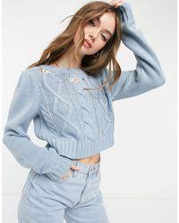 Vero Moda - Голубой Укороченный Джемпер С Узором «косы» И Цветочной Вышивкой - Lyst