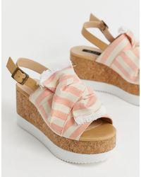 Blink Bow Platform Cork Sandals - Orange