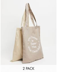 ASOS 2 Pack Tote Bags - Natural