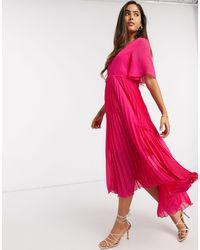 Y.A.S Розовое Платье Миди С Плиссированной Юбкой -фиолетовый - Пурпурный