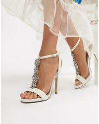 New Look Satin Embellished Heeled Sandal - White