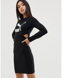 PUMA Черное Облегающее Платье С Логотипом Classics - Черный