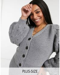 Skylar Rose Plus Cropped Cardigan - Grey