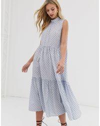 Y.A.S Sleeveless Cotton High Neck Midi Dress - Multicolour