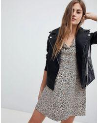 New Look - Leather Look Biker Jacket - Lyst