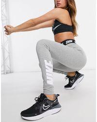 Nike Legging Met Hoge Taille En Logo - Grijs