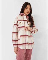 Stradivarius Куртка-рубашка С Начесом В Клетку Розового Цвета -многоцветный