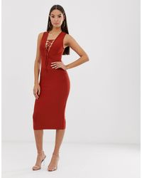 The Girlcode Bandage Dress With Tie Detail - Brown