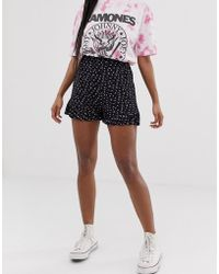 Daisy Street Shorts With Ruffle Hem - Black